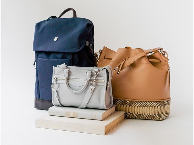 Fashion handbags and backpack curated display